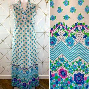 Vintage 1970s Dagger Collar Flower Maxi Dress